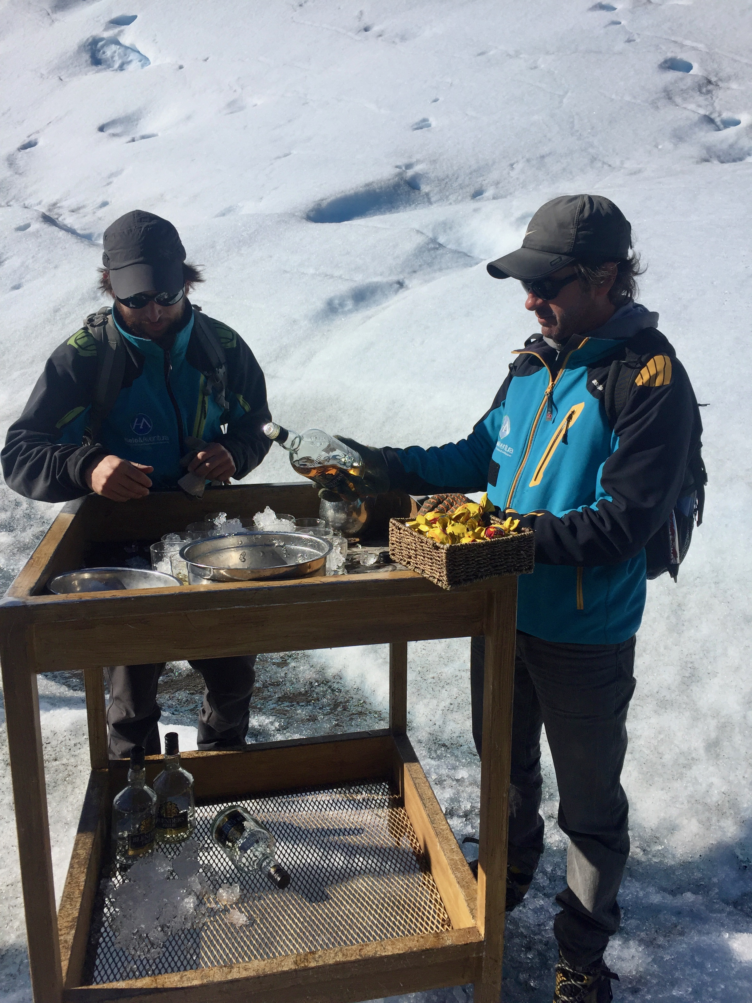 A makeshift bar at the base of a glacier. Salud!