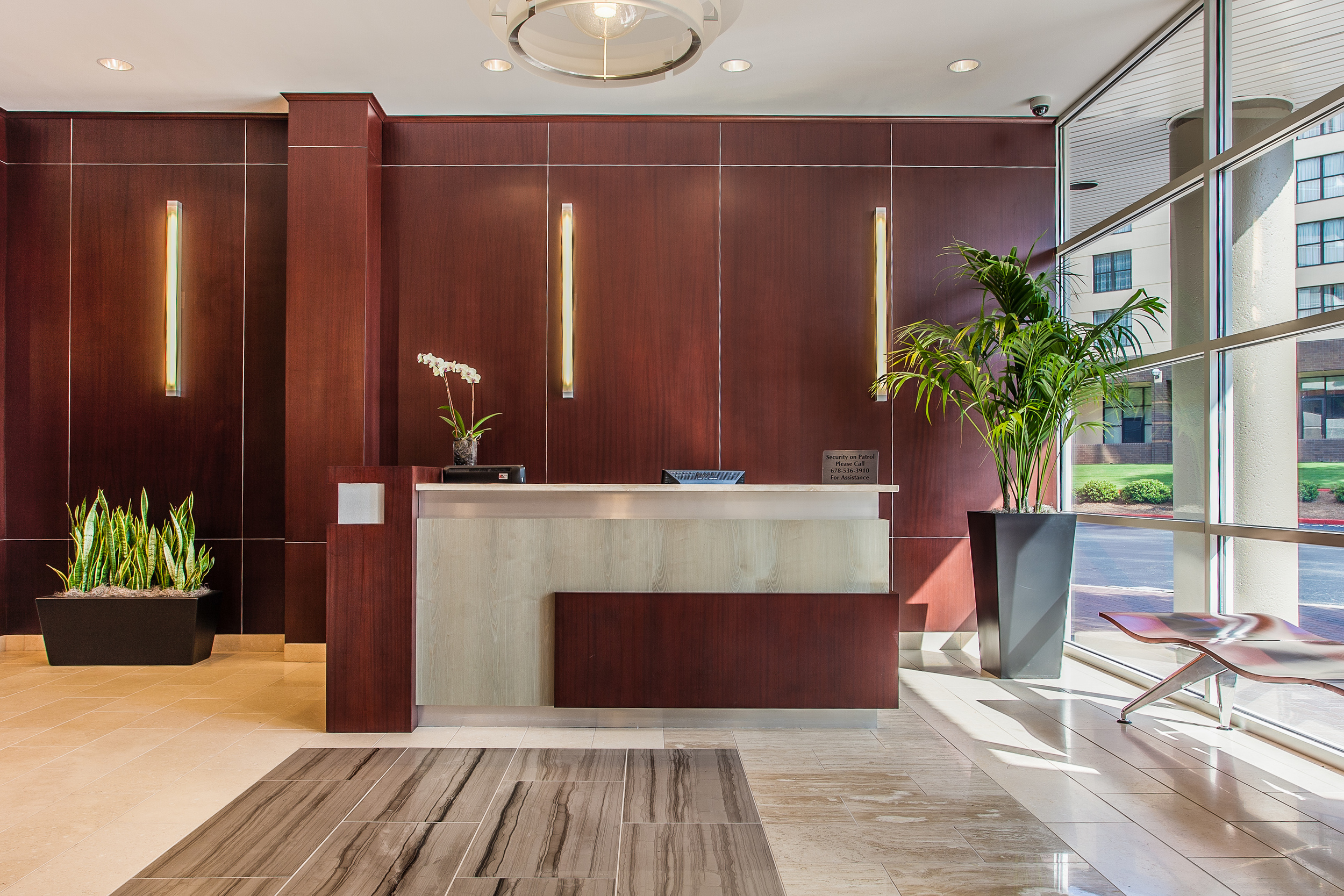 Recently Renovated Lobby Interior Evokes Strong Corporate Presence