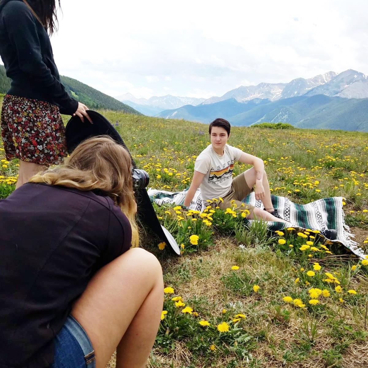 behind the scenes high school senior photo shoot Colorado