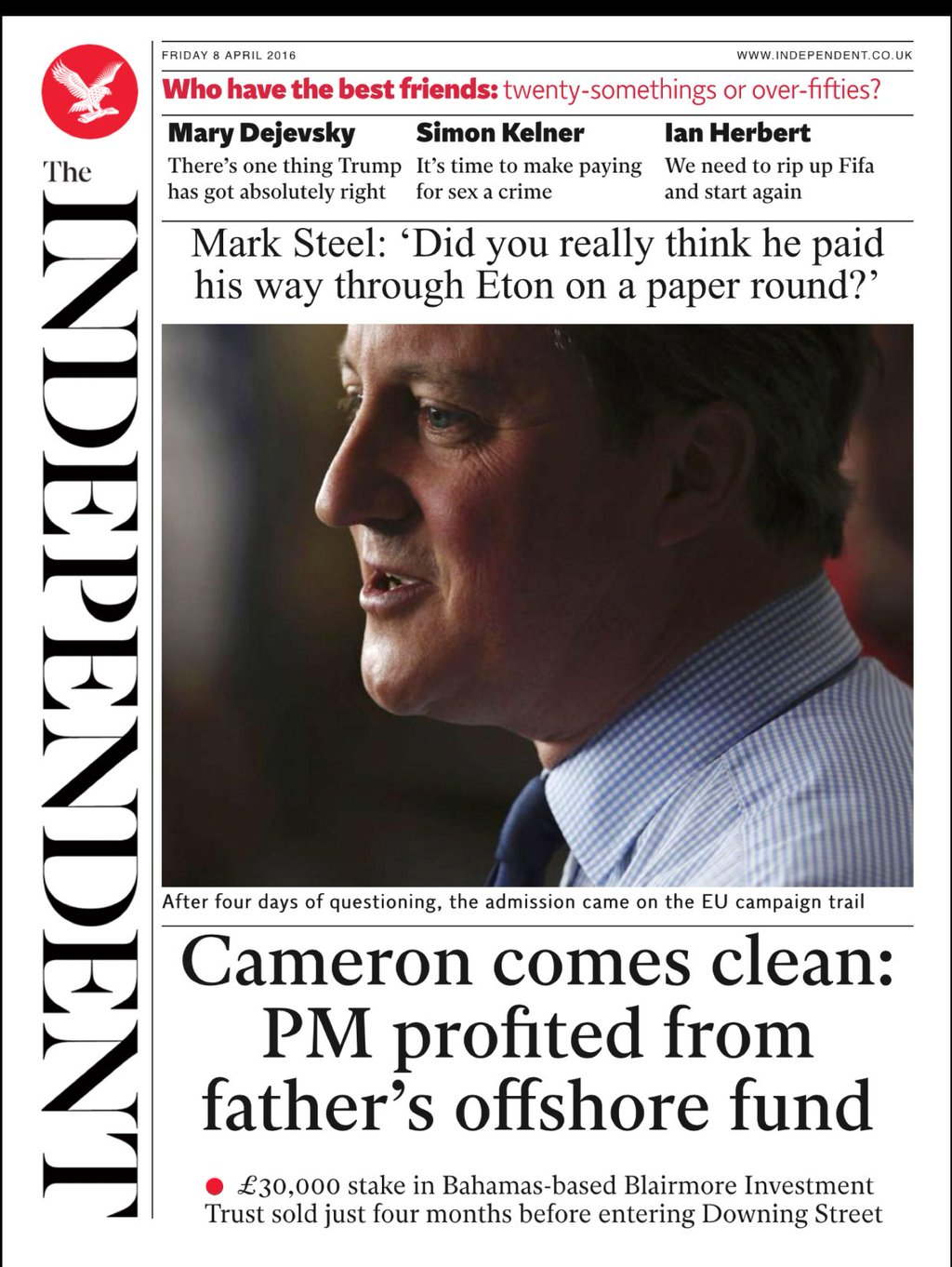 Tomorrow's Independent digital front page, courtesy of @Hendopolis