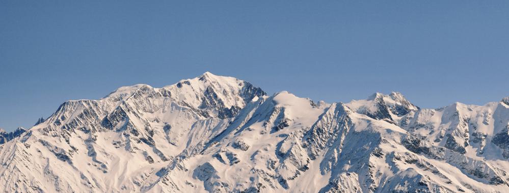panorama du mont-blanc depuis l'aiguille croche, les contamines montjoie (haute-savoie, france). dépliant 4 volets