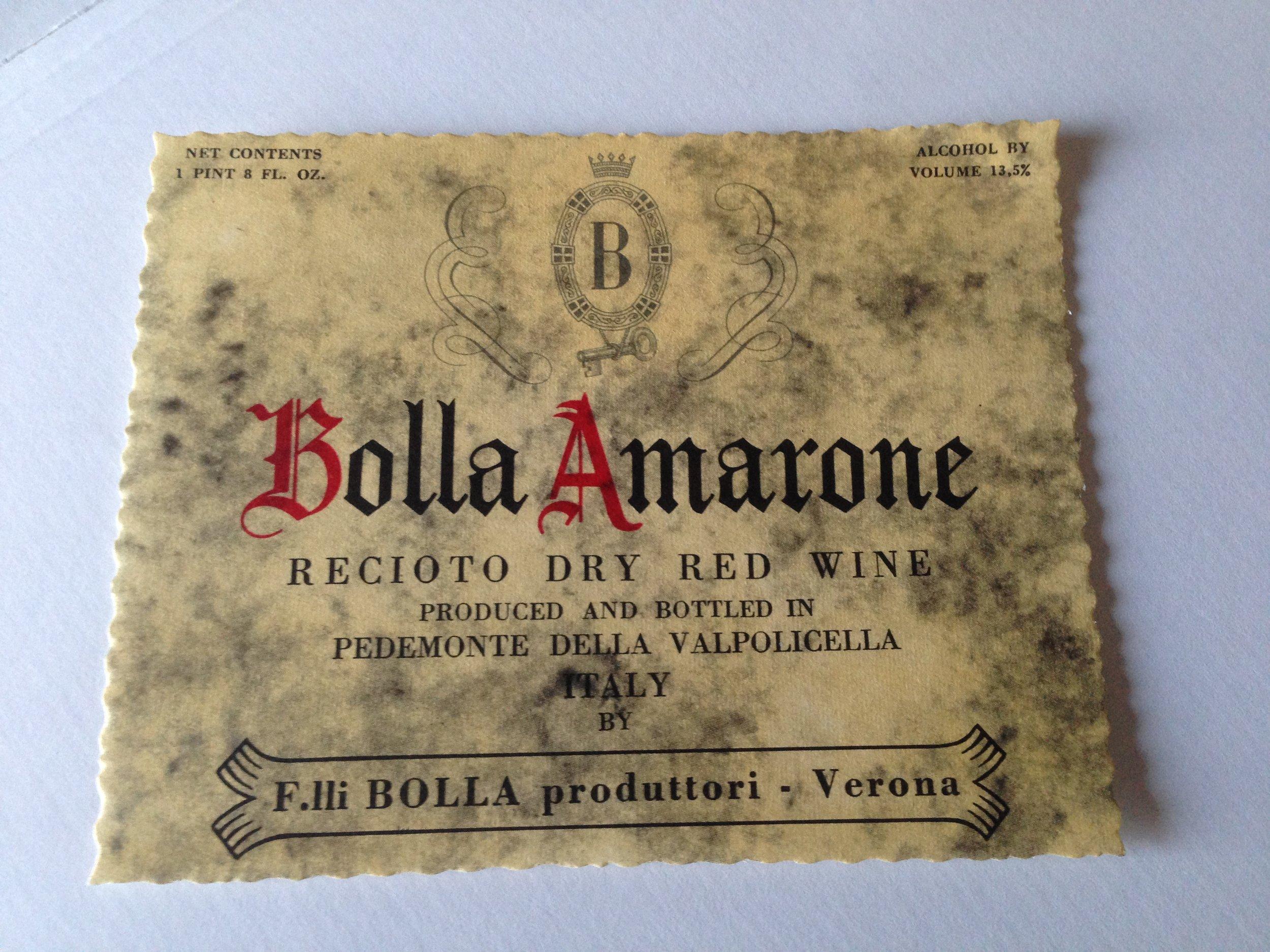 Un'etichetta storica di Bolla, per un Amarone destinato al mercato americano