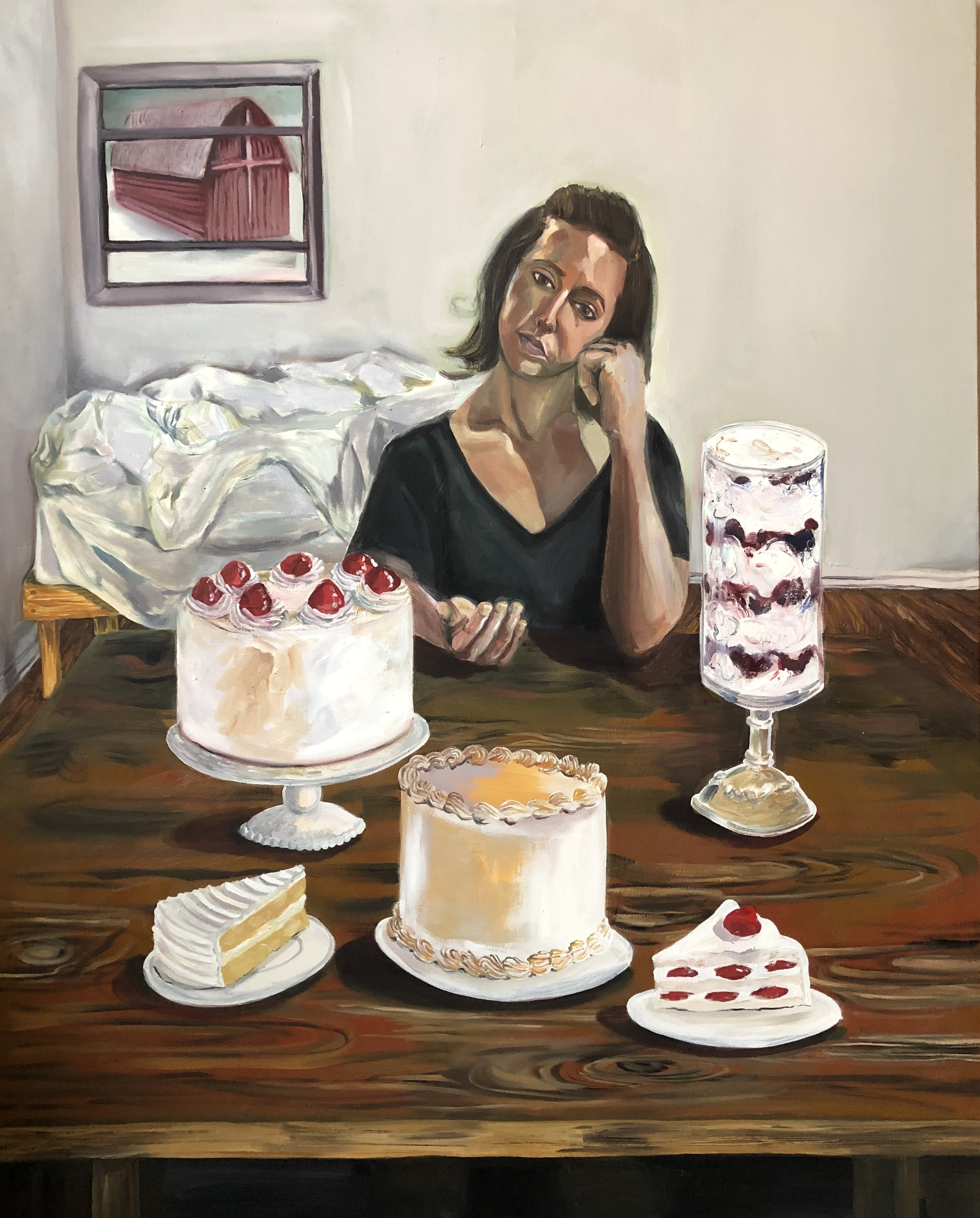 Self-portrait with cakes