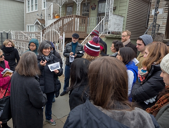 As part of a tour of places that gone (part of All Out in the Streets symposium November, 2014)  a group gathered while I described the 1973 Froebel uprising.