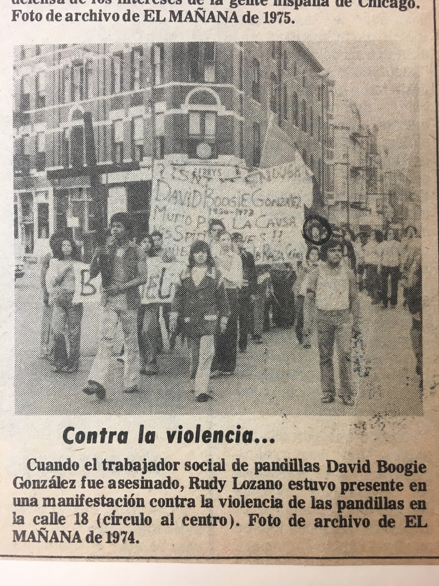 From El Mañana, 1983, reprinted from 1974 for an article about the late justice leader Rudy Lozano, who appears circled in the photo. Also in the photo, Rufus and Cookie. I found this image in the Rudy Lozano papers at the Daley Library, UIC Special Collections in 2018.