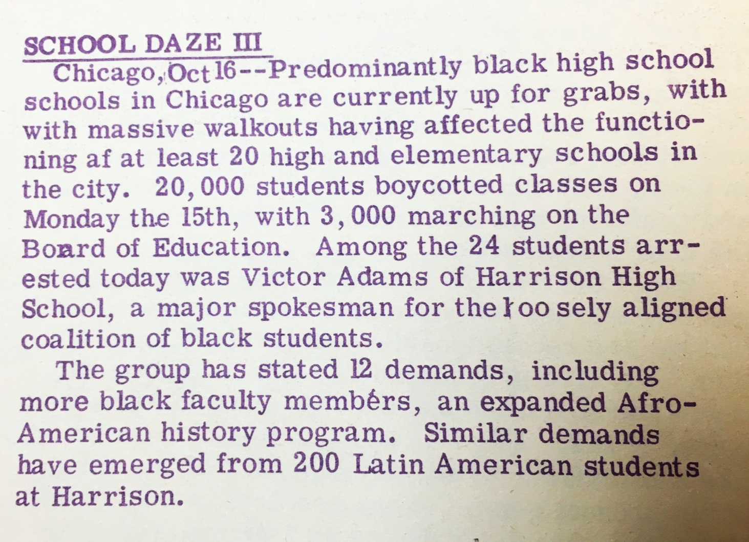 The Chicago Seed, 1968, reporting on the massive student-led walkouts on the west side of Chicago