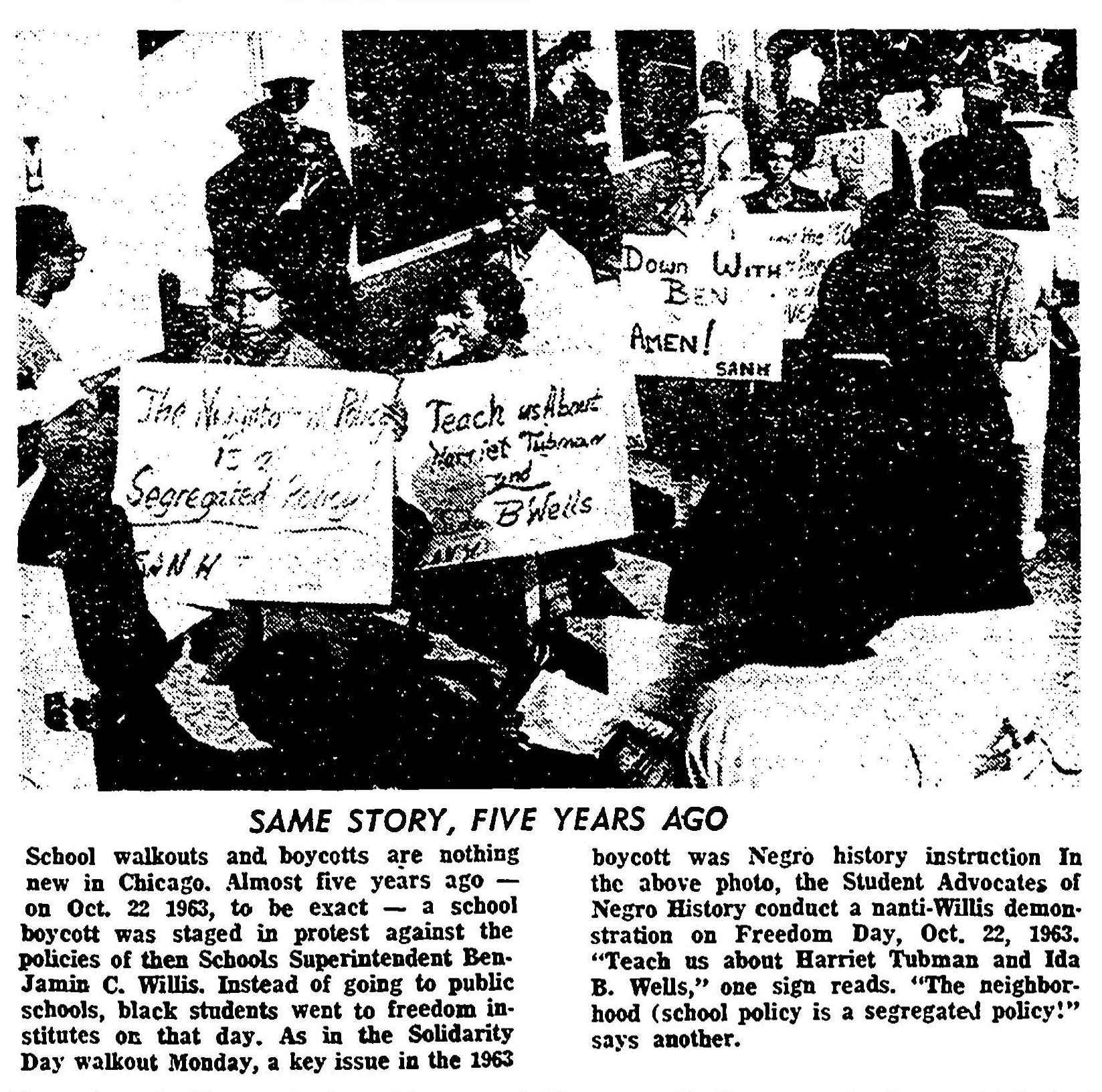 1968, Chicago Tribune: they compared the 68 walkouts with the 1963 walkouts. Seen here, students in 1963 demand Black history curriculum that includes Harriet Tubman and Ida B Wells.