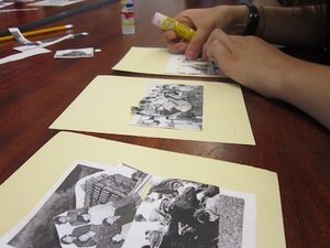 students make collages using images from research, using the process to study the image and develop lines of inquiry (2016)