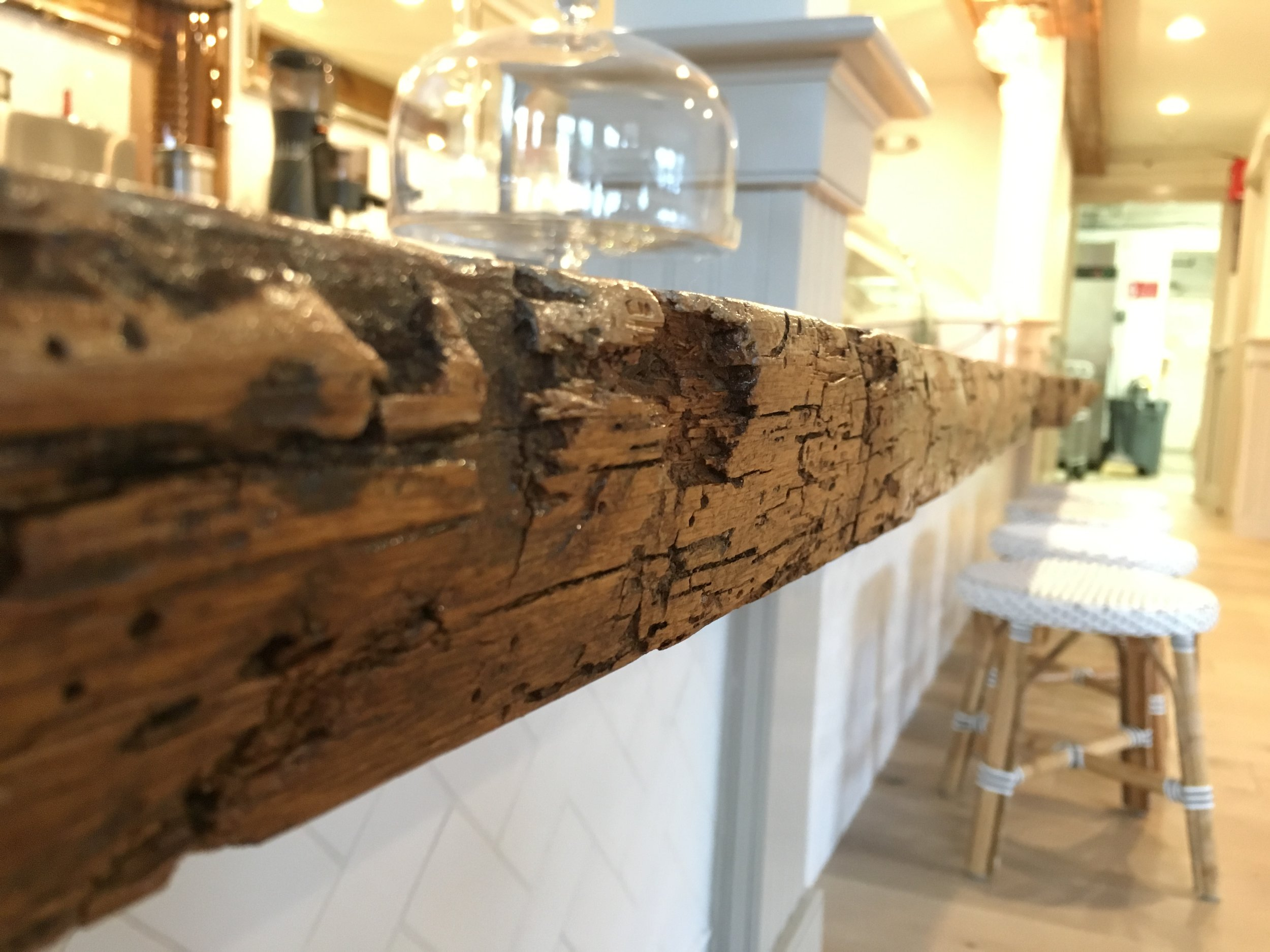reclaimed oak live edged countertop