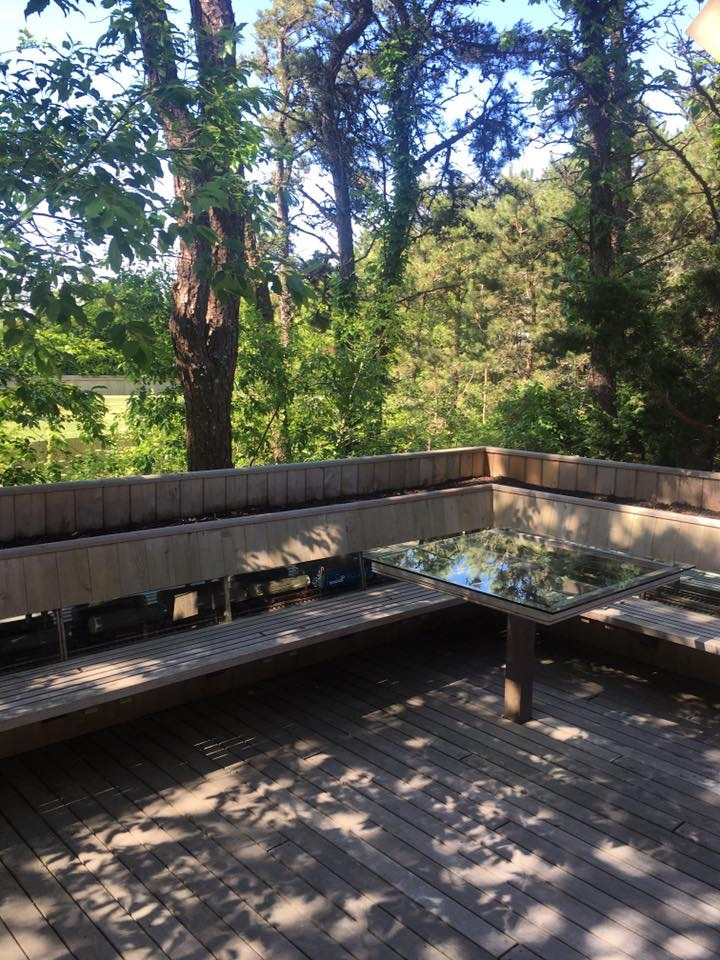 exterior deck with custom planter