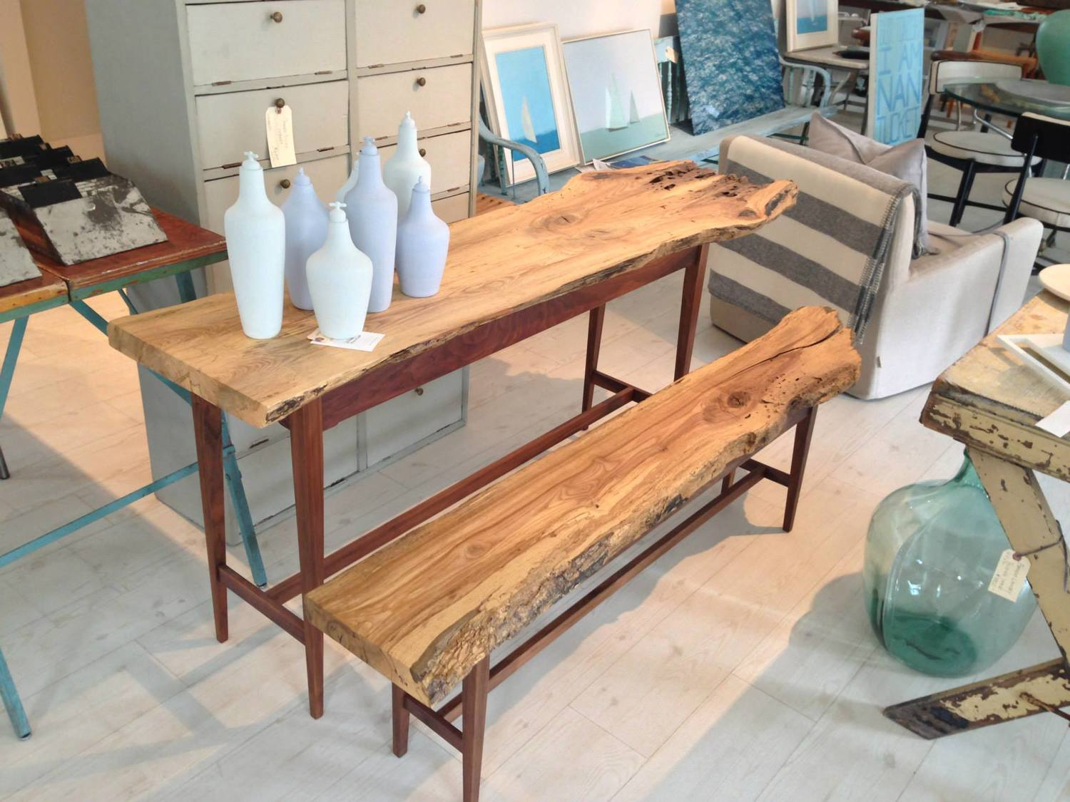 reclaimed oak table and bench