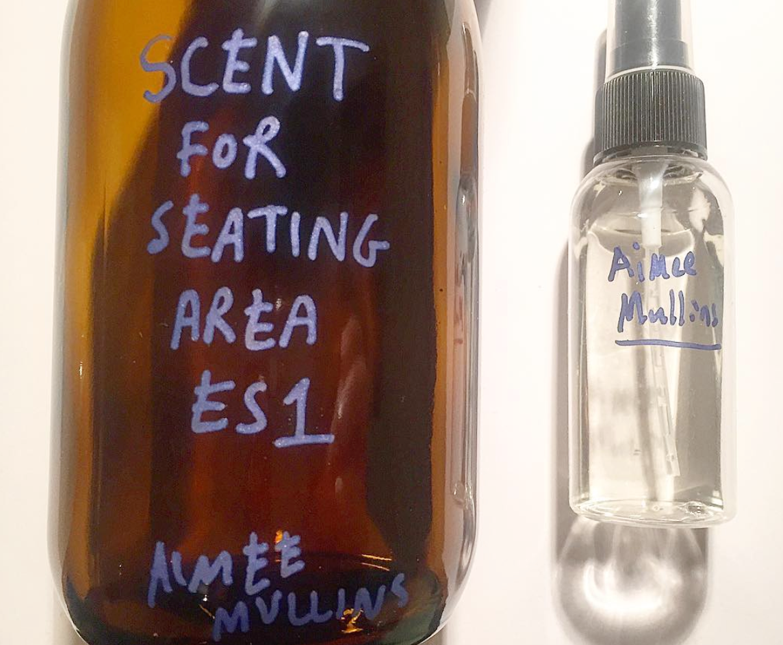 The pine scent provided by Aimee Mullins is decanted into small plastic bottles for staff to spritz