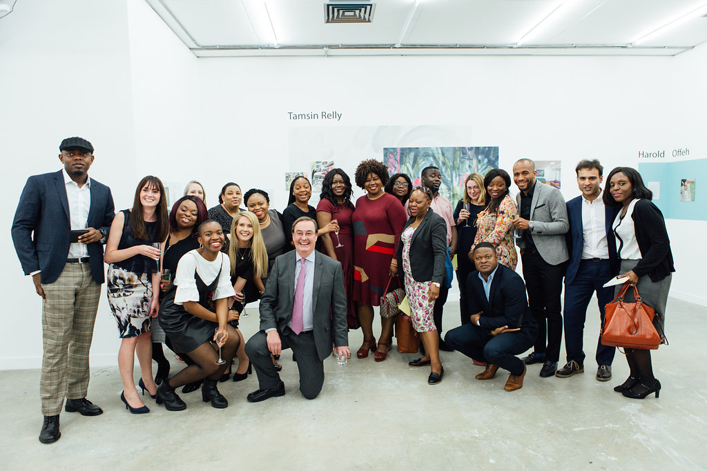 The team from Eileen Skellern 1, a psychiatric intensive care unit for women at The Maudsley Hospital, are joined by Chair of South London and Maudsley NHS Foundation Trust, Roger Pafford, and Joint Deputy Medical Director for Informatics and Quality Improvement, Dr Nicola Byrne, for a group photo at an event celebrating the completion of our ES1 project. Held at Griffin Gallery back in April this year, the event showcased the artwork our artists have created at ES1 and was an opportunity for us at Hospital Rooms to thank all the amazing staff working at the ward for making the work possible.