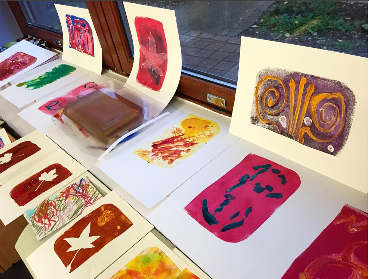Work created by service users at the Phoenix Unit during a painting workshop run by Aimee Parrott, with support from OT Hannah Daisy.