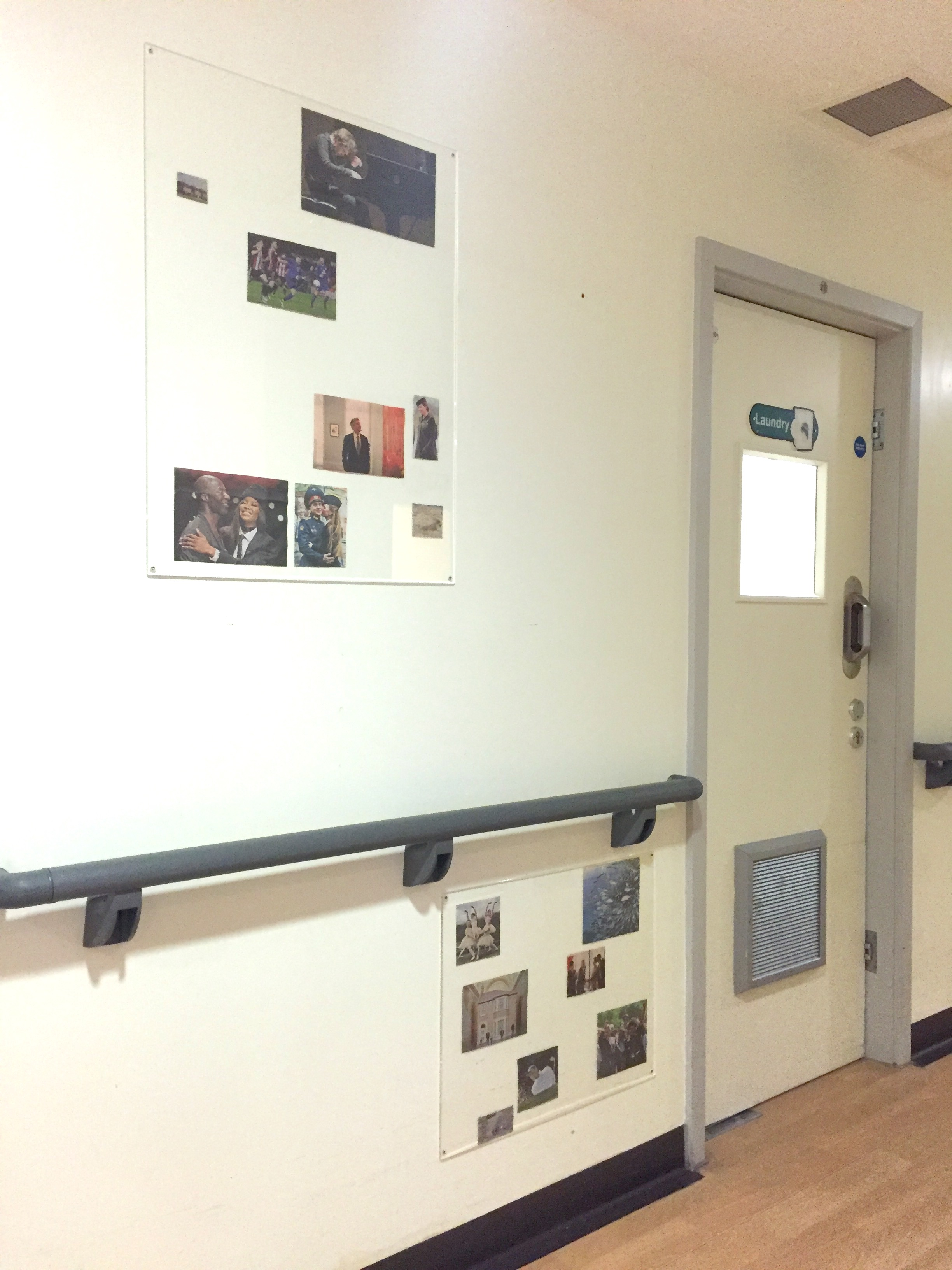 View of the corridor at Garnet Ward, with two of the works Richard created, exploring the concept of recognition