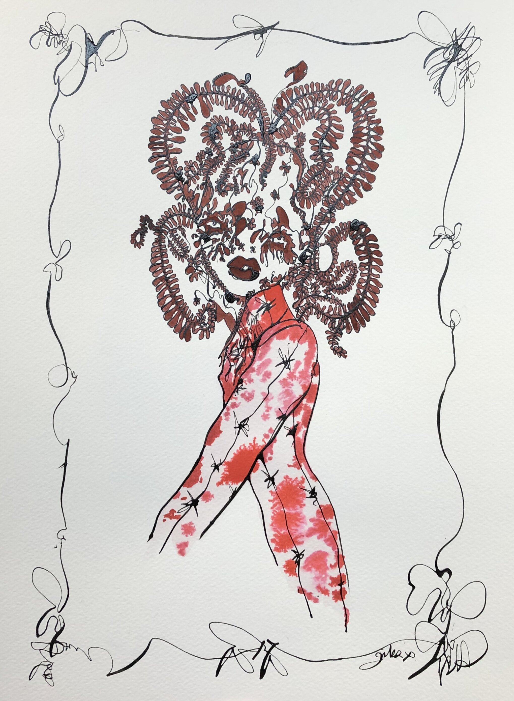 Giles Deacon - Isabella Blow, 2019Ink and watercolour on paper40 x 30cmEstimate: £1,000 - £1,500Starting bid: £800