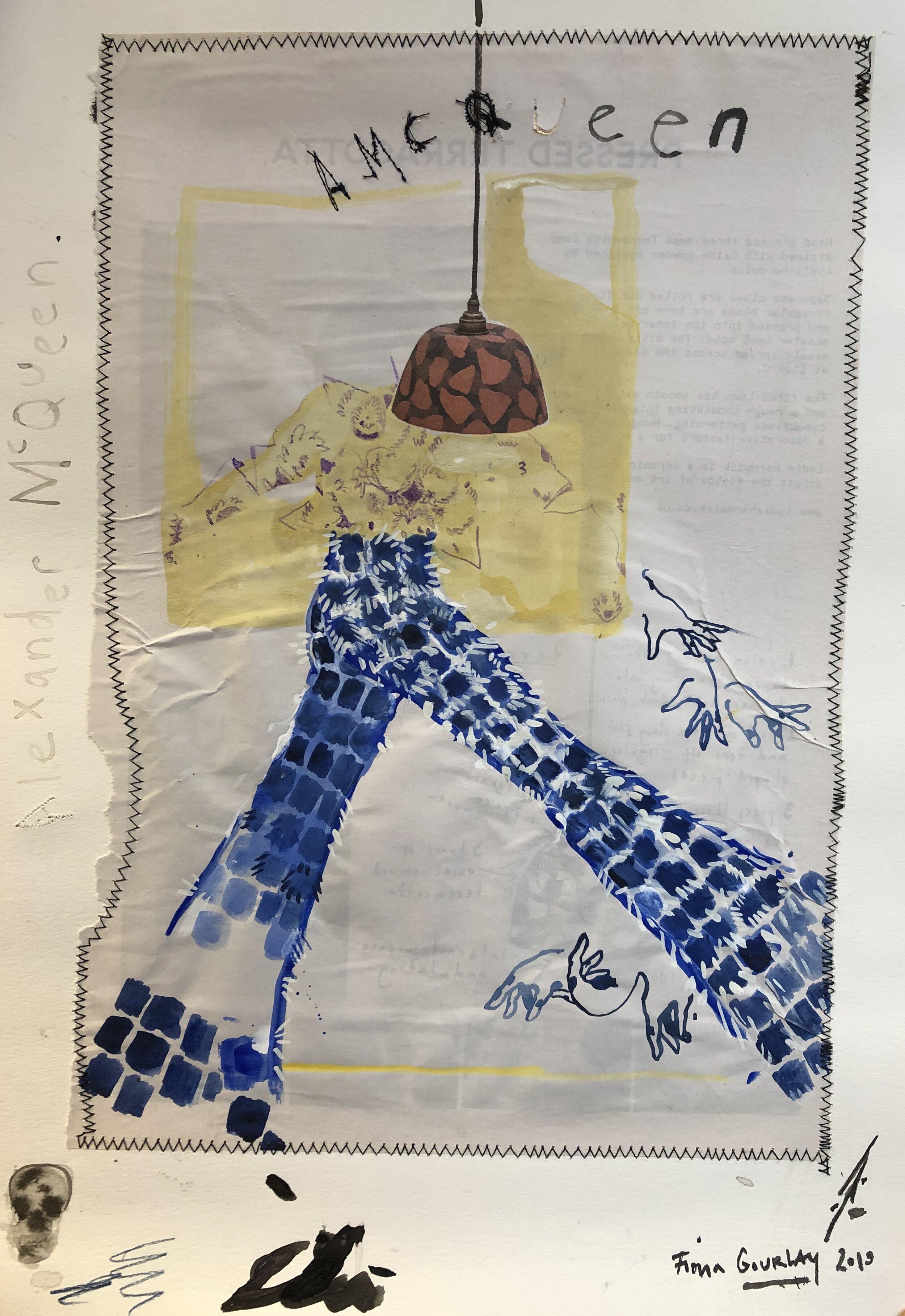 Fiona Gourlay - Dante - Autumn/Winter 1996, 2019Watercolour, collage and thread on paper40 x 30cmEstimate: £300 - 500Starting bid: £250