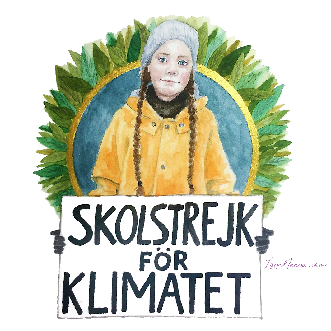 My portrait of Greta Thunberg for #KidLit4Climate