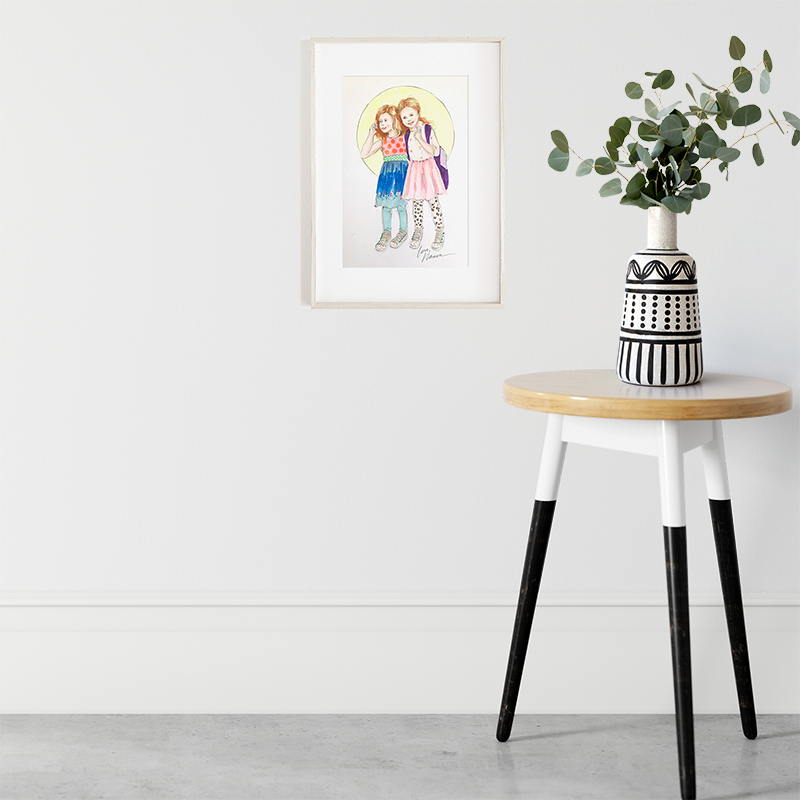 "Petite - Charming 6""x9"" ink drawings fit in an 8""x10"" frame with a matte."