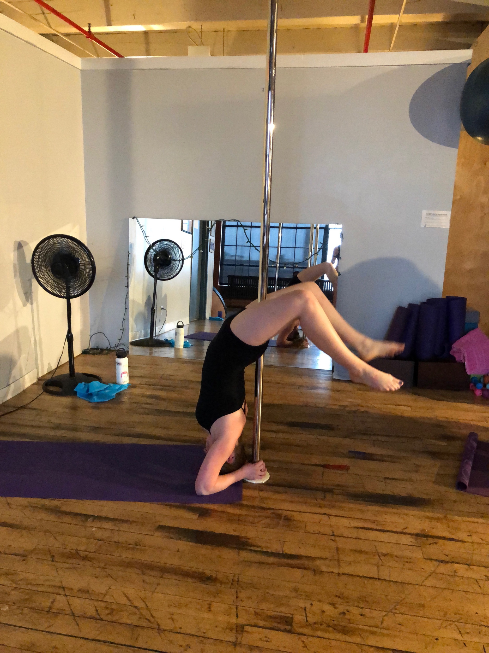 Abby and I go to pole, and it hurt a lot. Thankfully, this pose didn't require any intense friction on the thigh meat.
