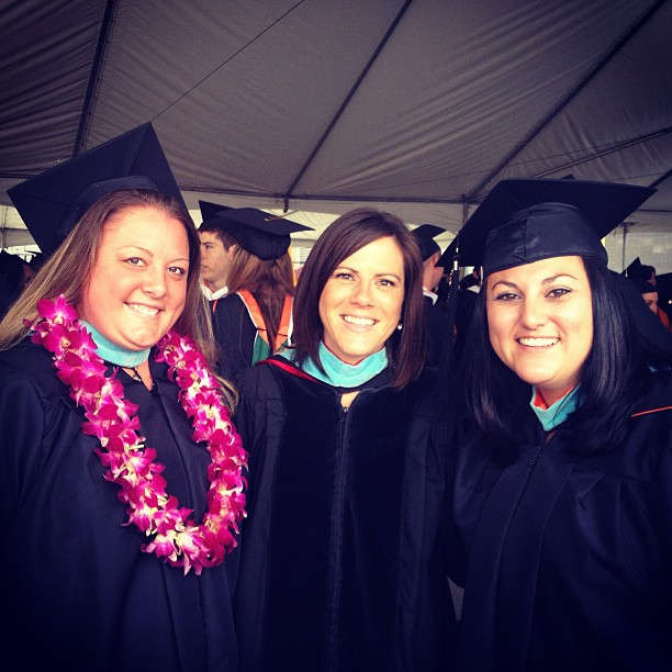 With students at University of La Verne commencement.