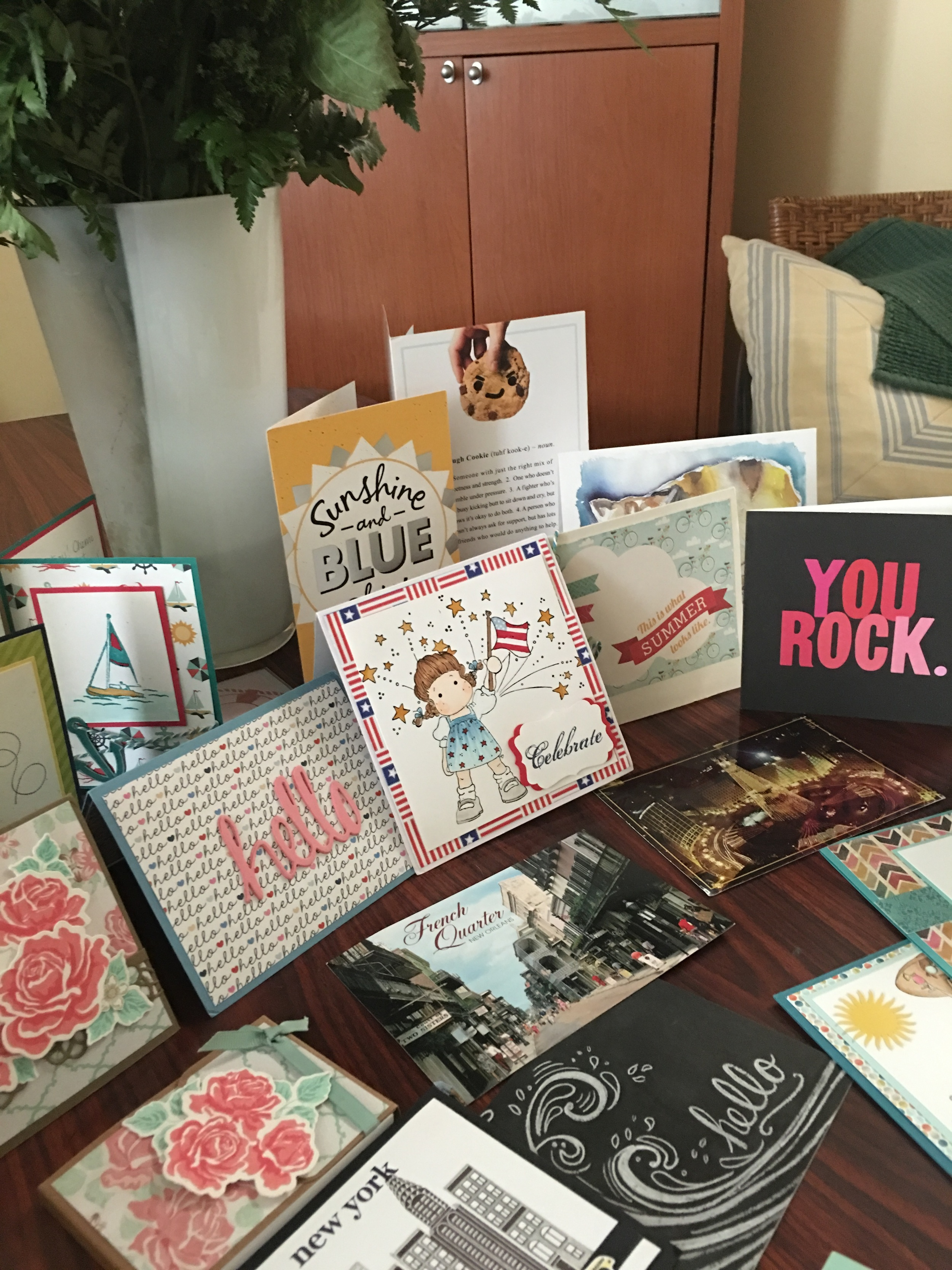Post cards, greeting cards, note pads......my chemo angels rocked!!!!!