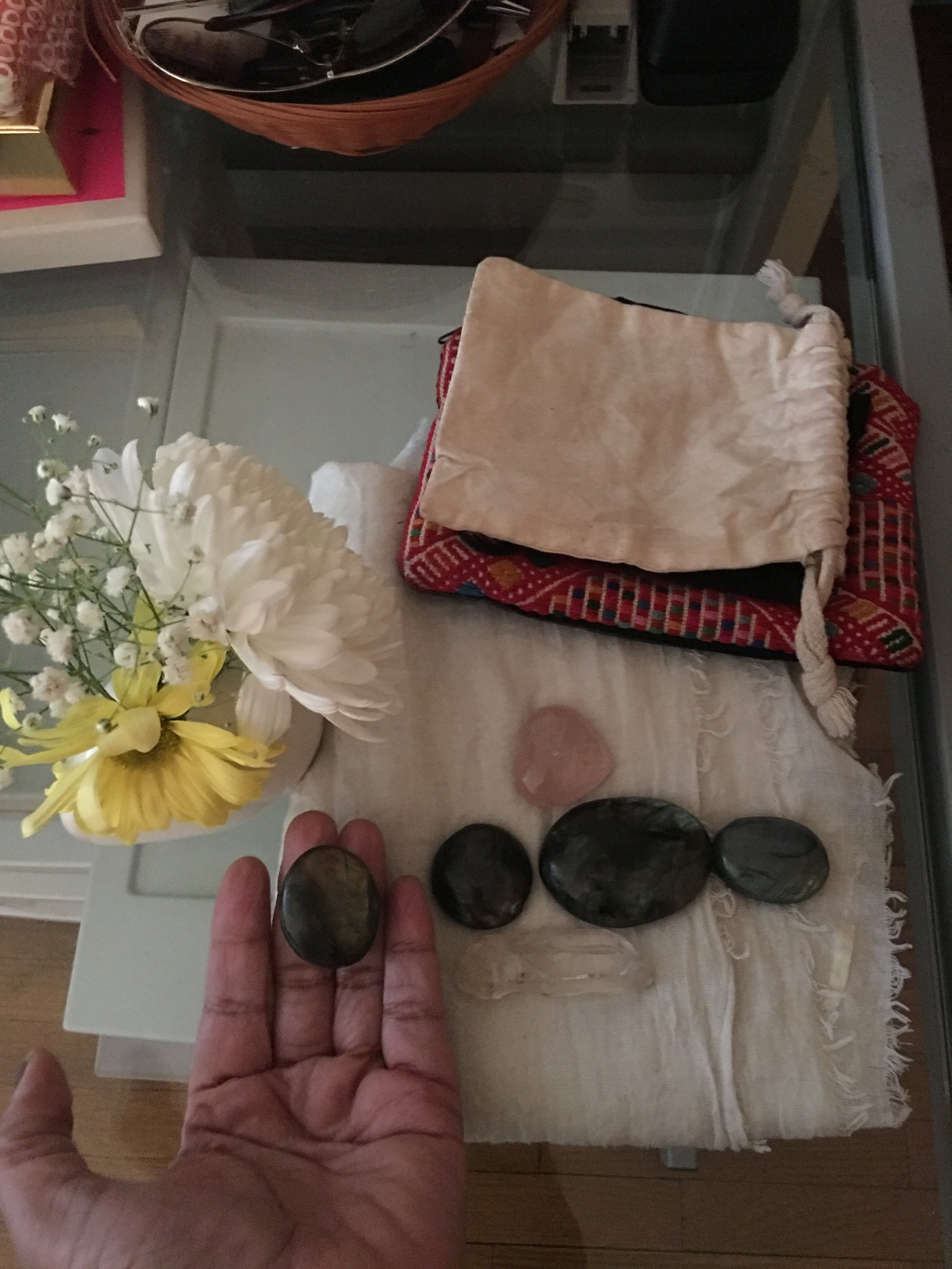 Some of Ms. J.'s swag that included healing crystals.