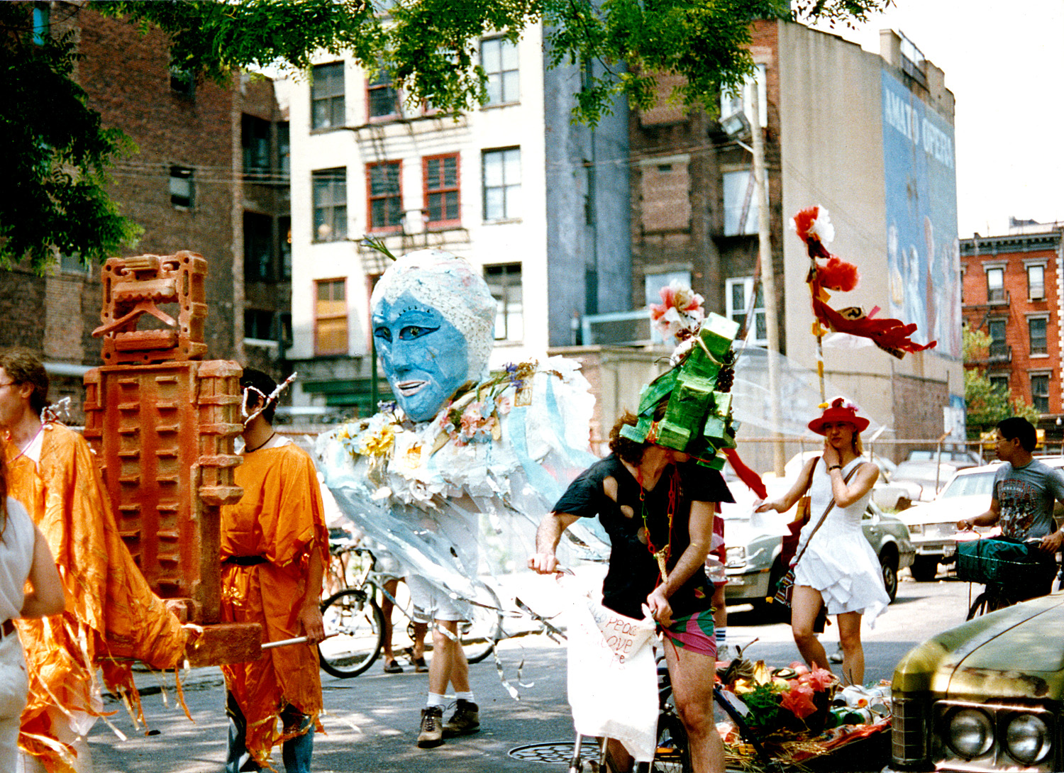 Giant puppets went on parade to support the community gardens of the East Village and Lower East Side.