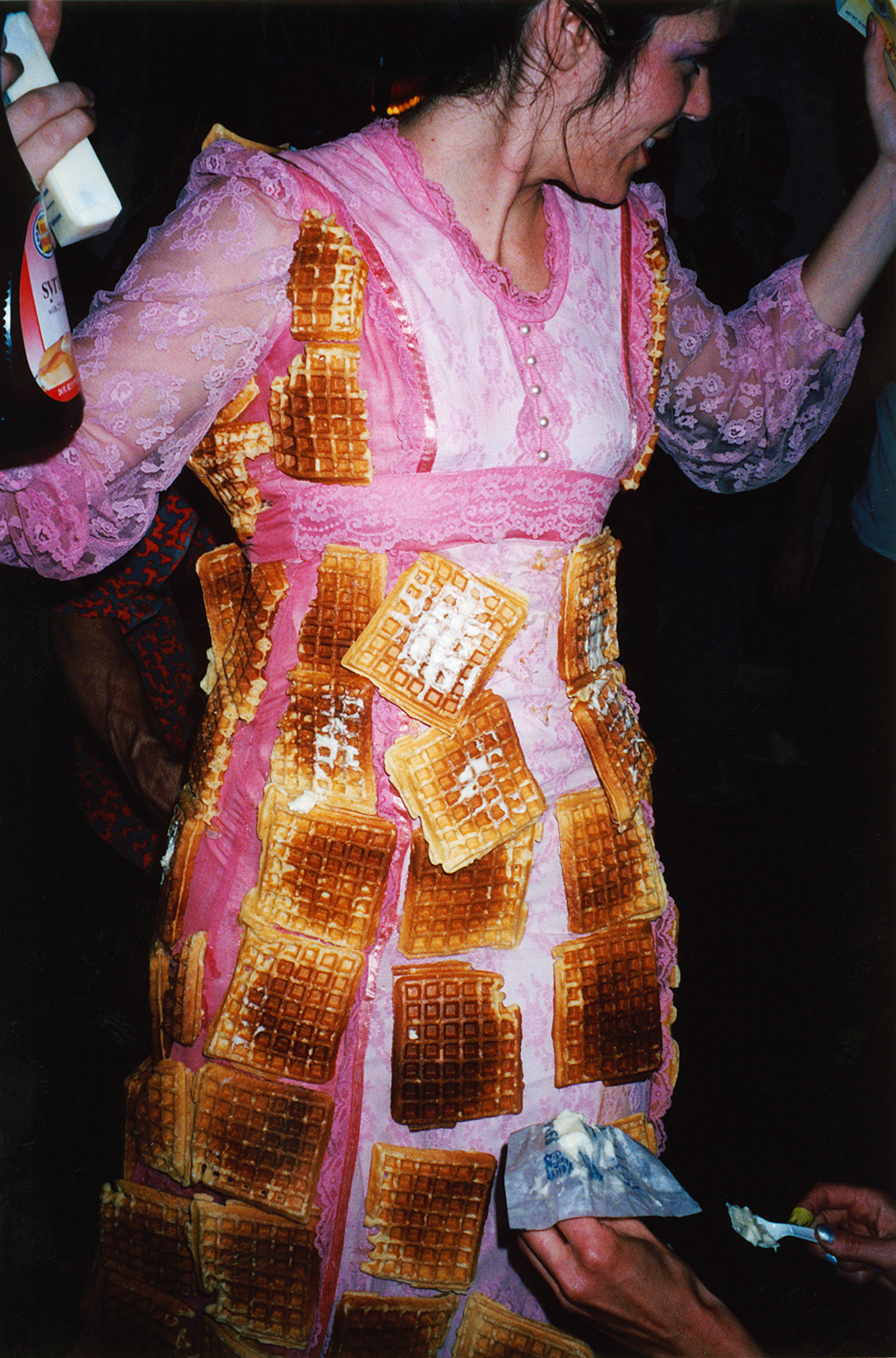 I made waffles, glued them to my dress and then had the audience butter and syrup me.
