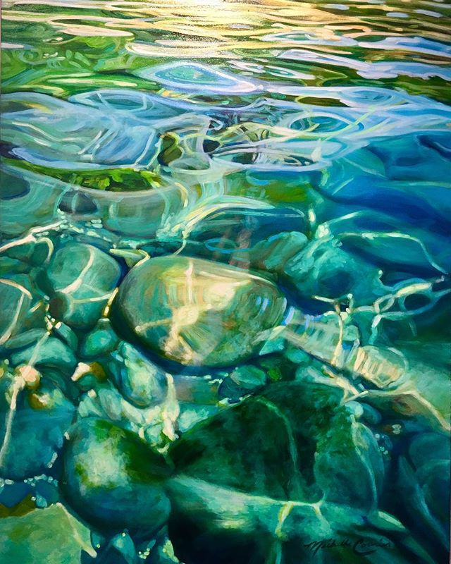Water 36x48 acrylic painting available at @emanategallery #southlaketahoe #keeptahoeblue💙 #laketahoe #sandharbor #acrylicpainting #denverartist #water
