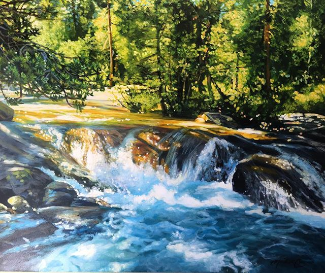 Horsetail Falls 48x36 acrylic painting.  www.westwardgallery.com.  #acrylicpainting #horsetailfalls #charvinacrylics