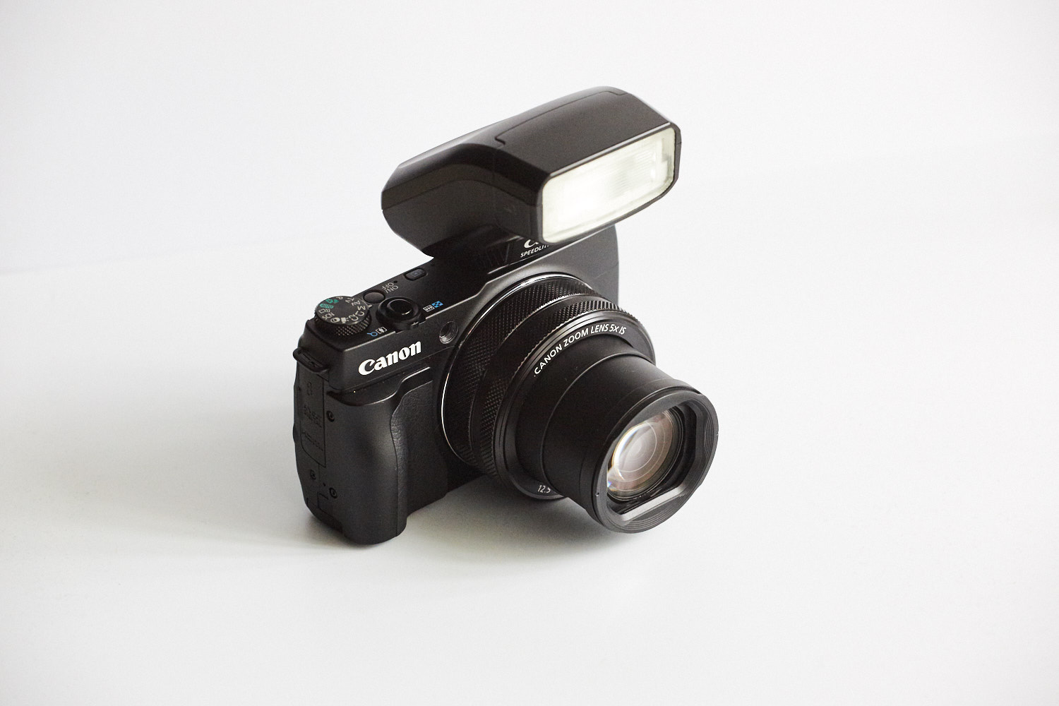 Canon Speedlite 270 EX facing forward. I only do this when I need more power for say bigger groups.