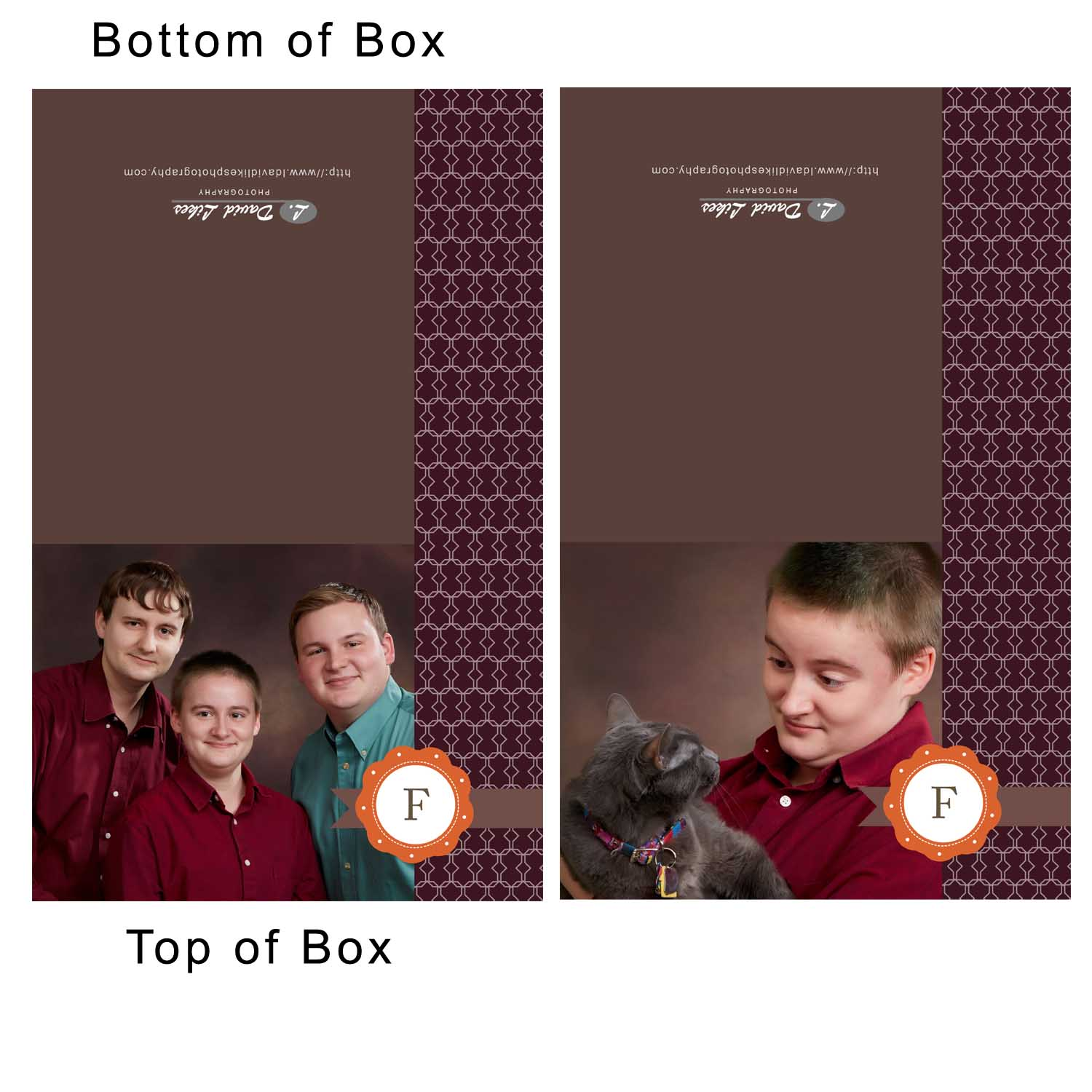 Two Image Box Designs (Left is the Father's Box, Right is the Daughters Box Design)