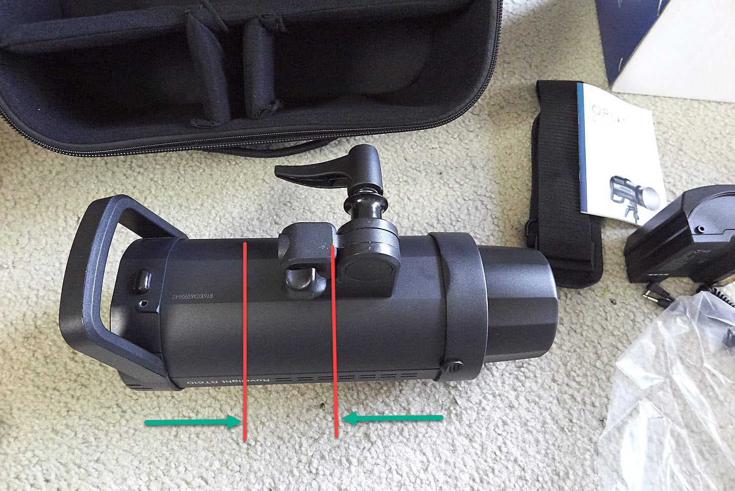 Poor design? The mount to a standard 5x8 inch light stand stud is much shorter in depth than most typical monolights (Shown here is what I approximate other monolight mounts to be in length)