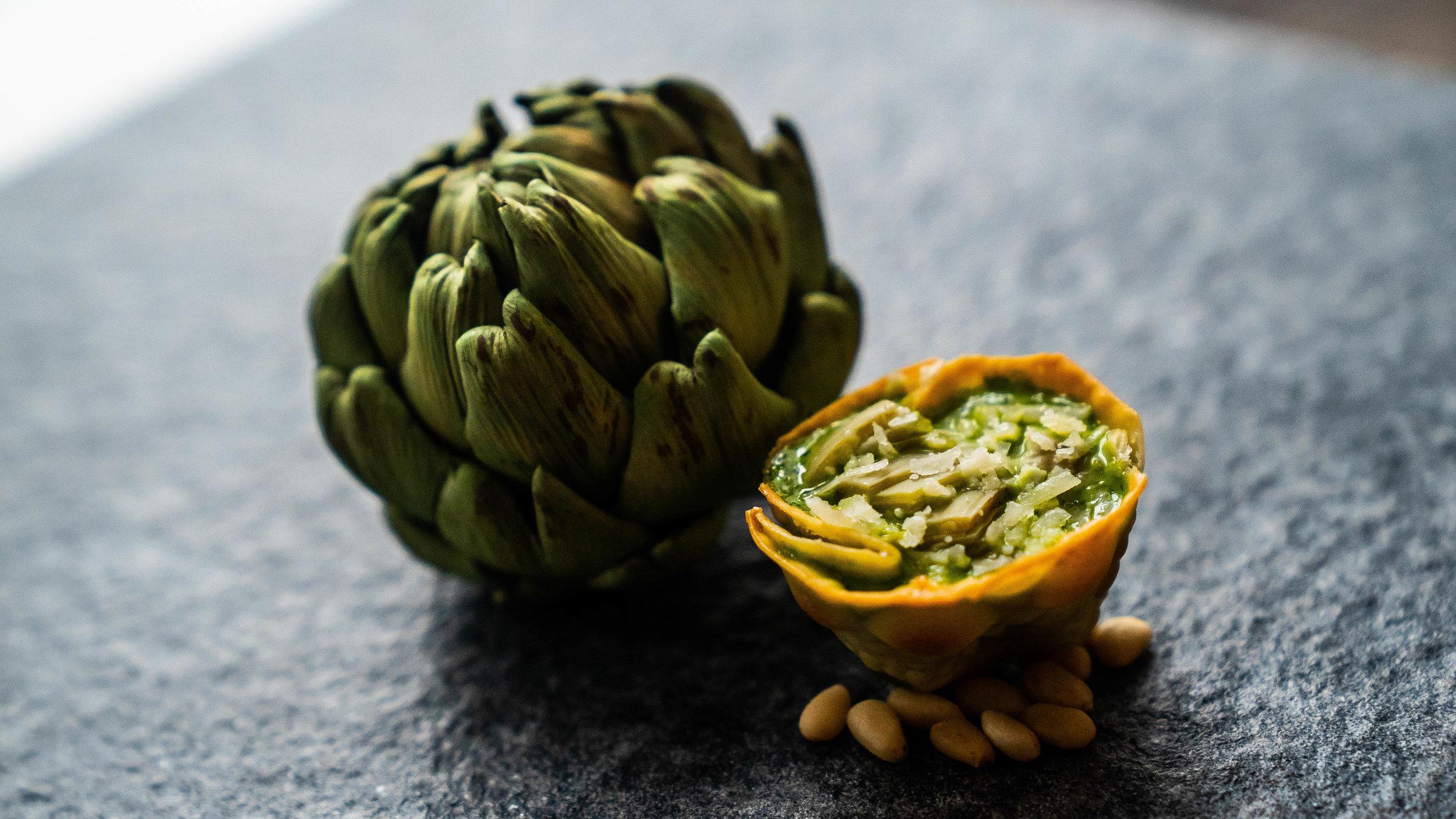 Artichoke, basil, and pine nut cheese cake