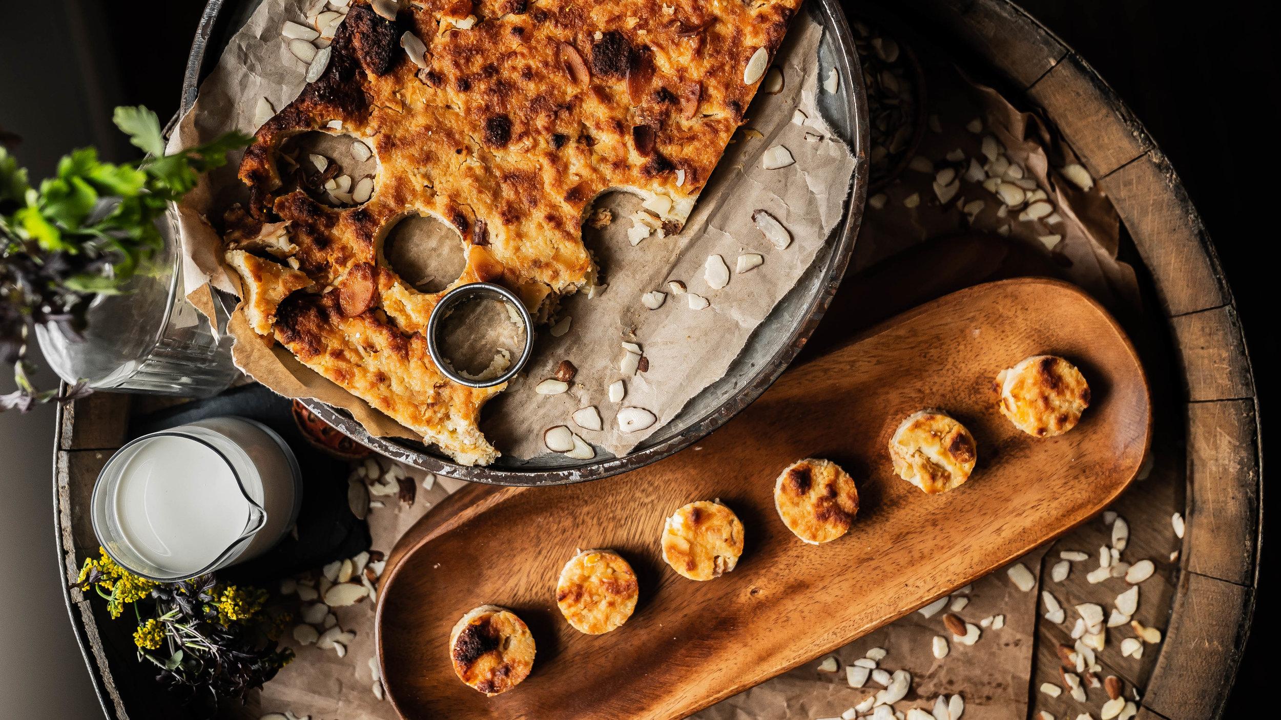 Almond-peach brioche bread pudding bites