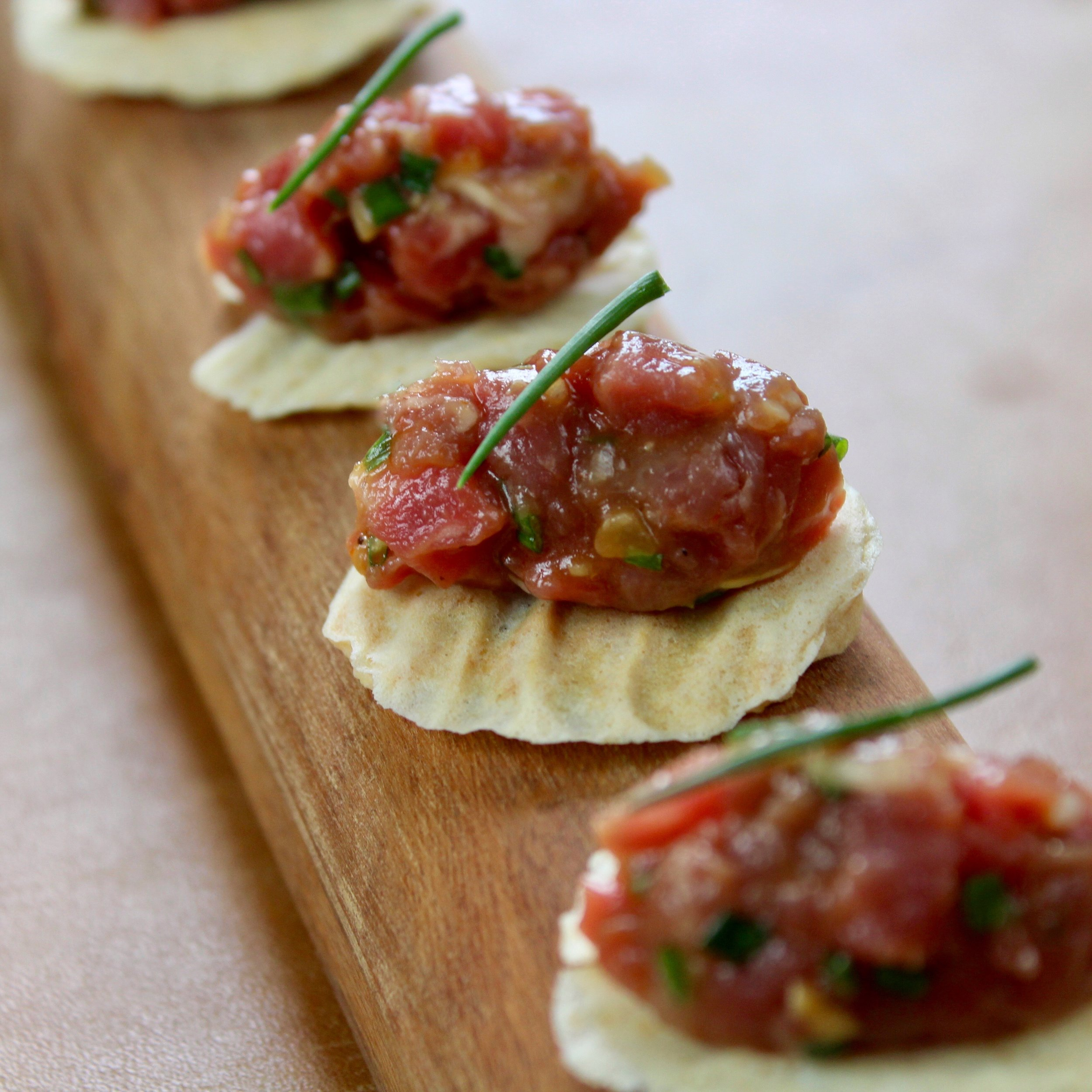 - Steak tartare on a potato wafer