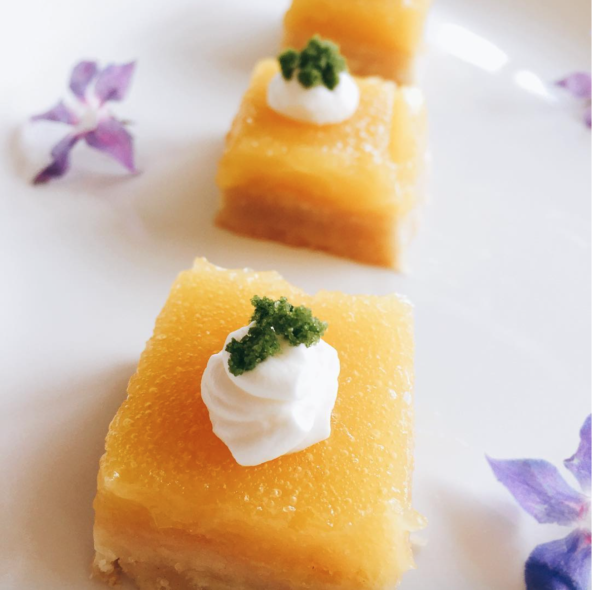 - Lemon olive oil bars with basil sugar