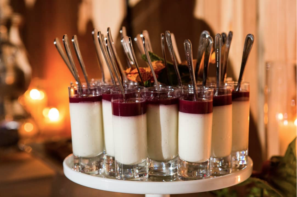- Vanilla bean panna cottas with pomegranate and gingerbread