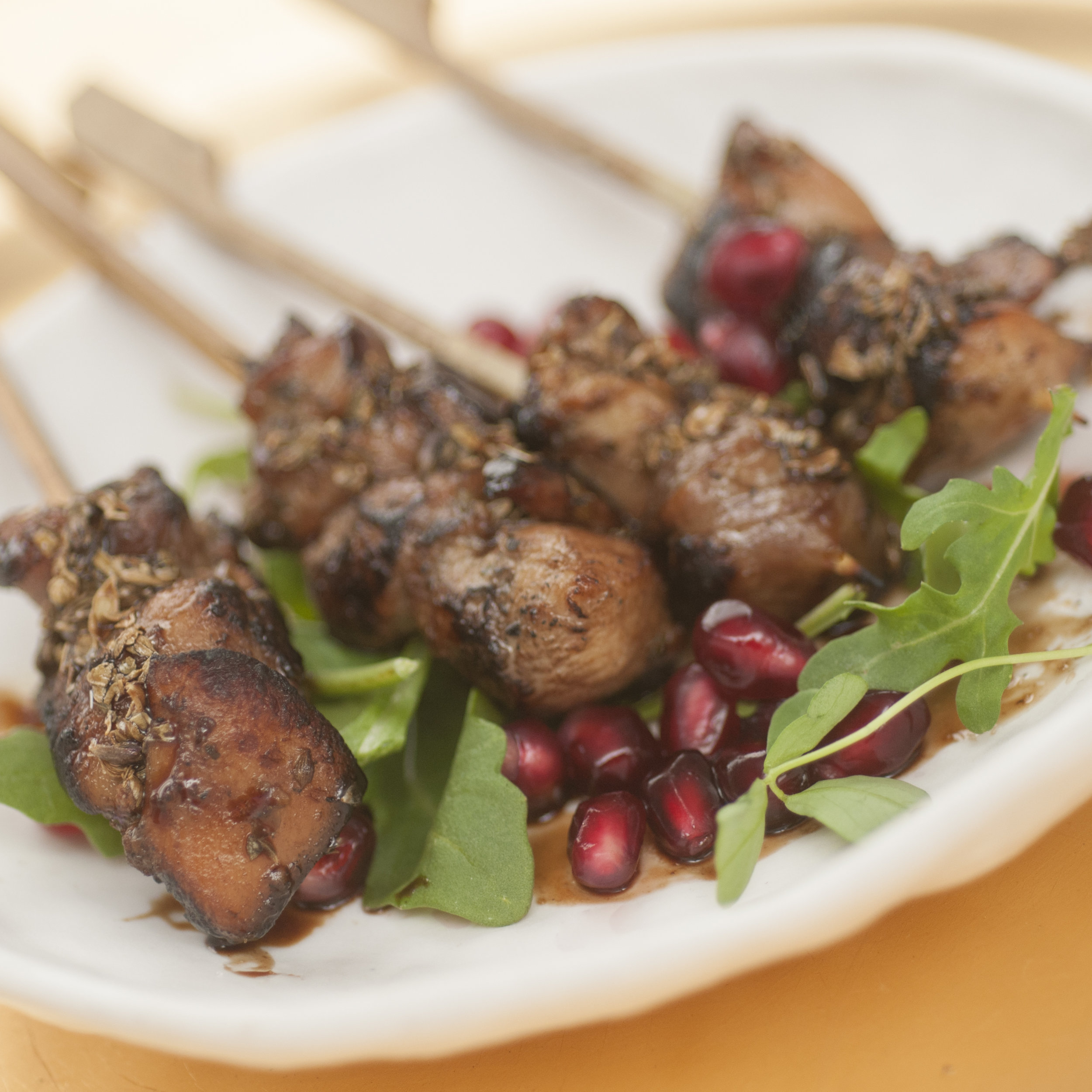 - Sticky chicken skewers with truffle honey, balsamic, and herbes de Provence