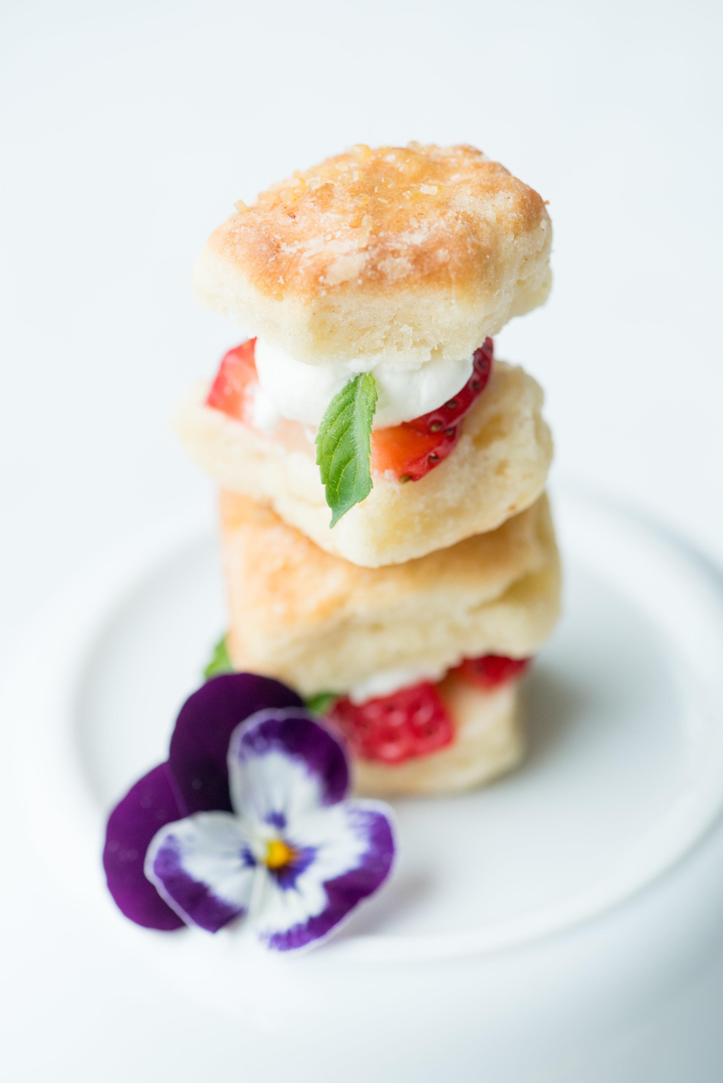 - Tiny strawberry shortcakes with local honey