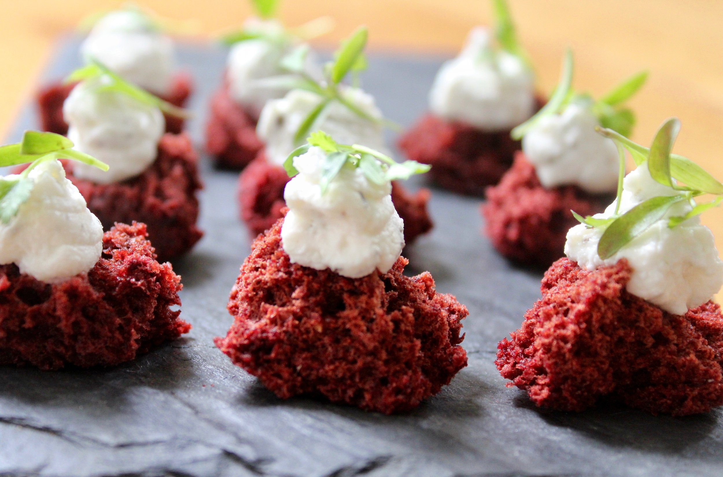 - Beet sponge with whipped goat cheese and dill