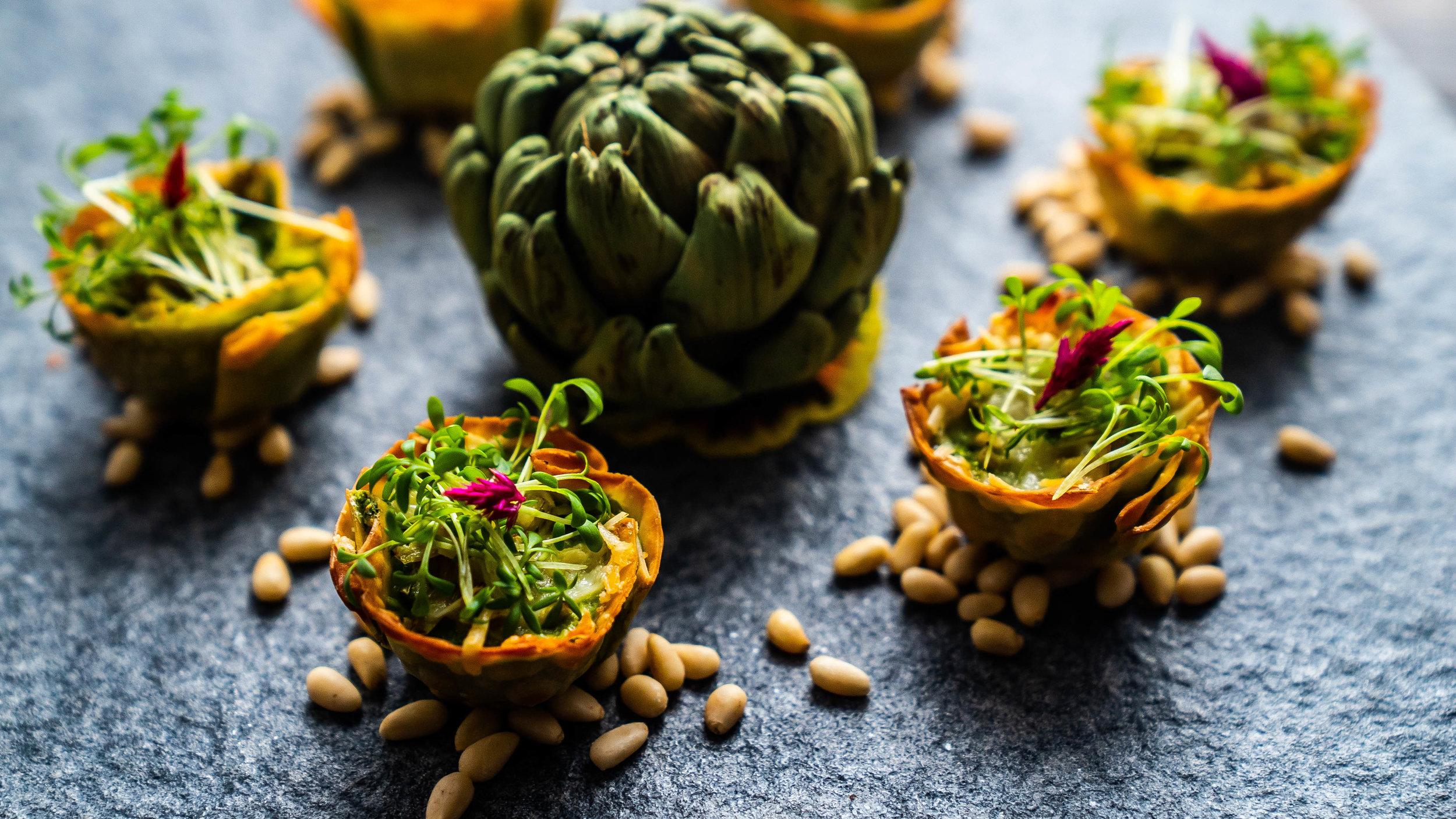 - Artichoke, basil, and pine nut cheese cake