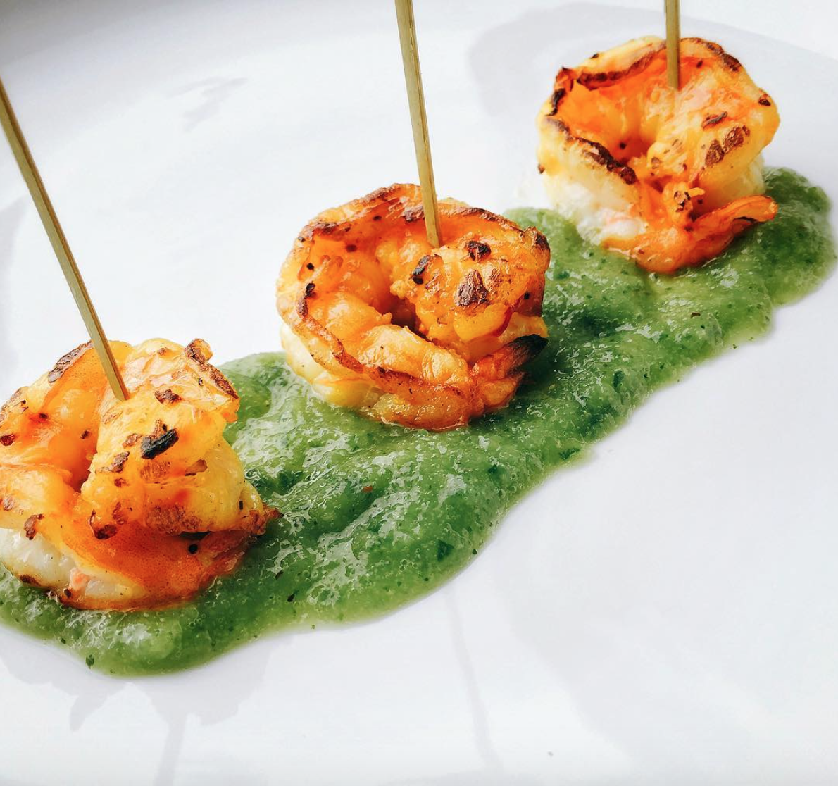 - Saffron shrimp with green gazpacho sauce