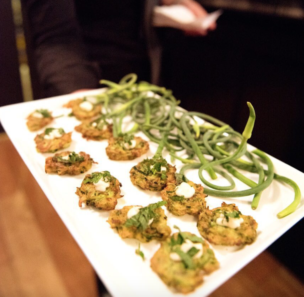 - Zucchini fritters with green garlic aioli