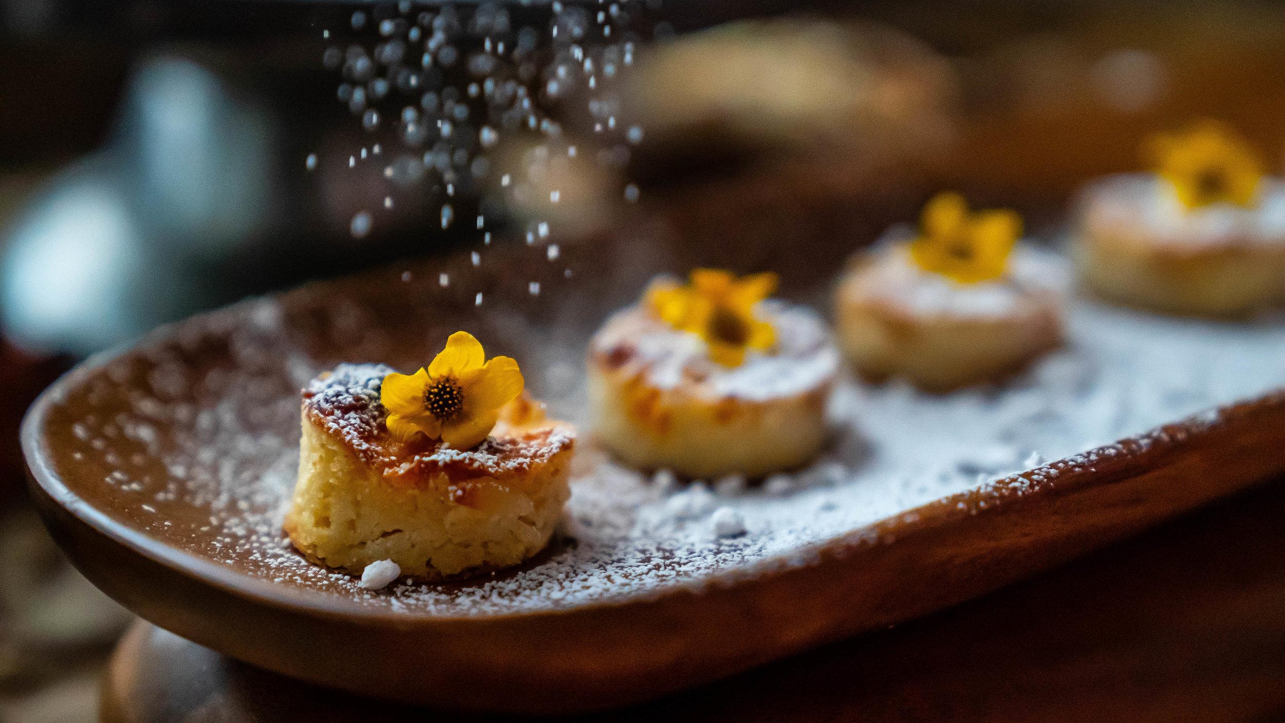 - Almond- peach brioche bread pudding bites