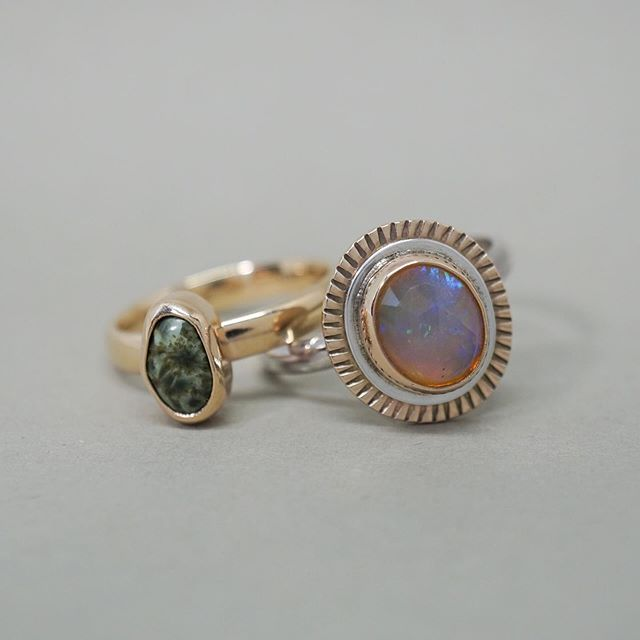 These two custom designs went off to live with their people! Make an appointment to come by the studio select a stone, and then chat about a design. You can have a very special one of a kind ring that was made especially for you! . . . . #jewelry #shoplocalmn #womanowned #instajewelry #handmadejewelry, #jewelrymaking #femalebusinessowner #smallbusiness #jewelrygifts, #ringsofinstagram #silverjewelry #silverjewelrydesign #ringstack #messagejewelry #casketartsbuilding #casketarts #nempls #northeastmpls #mnartists #mpls #mplsartist #mnjewelrystudio