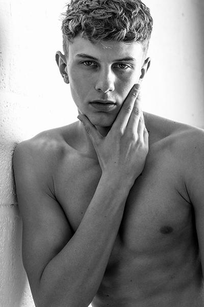 Tristan S@25modelmgmt male model- men-debut, bristol fashion black and white