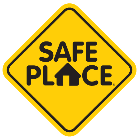 Any organization displaying this sign in their window or on their wall is a Safe Place site where underage youth can come for help.
