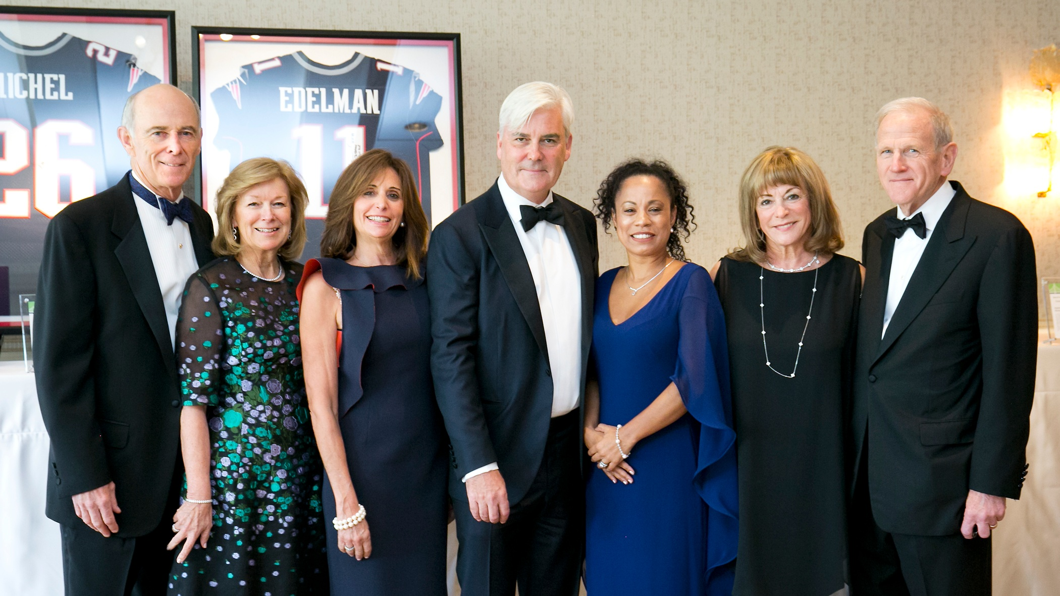 From left to right: 2019 Event Co-Chair Tom May and Donna May; Stephanie Long and 2019 Distinguished Honoree David Long; Bridge Over Troubled Waters Executive Director Elisabeth Jackson; Gloria Clough, Bridge Board Chair; and 2019 Event Co-Chair Chuck Clough.